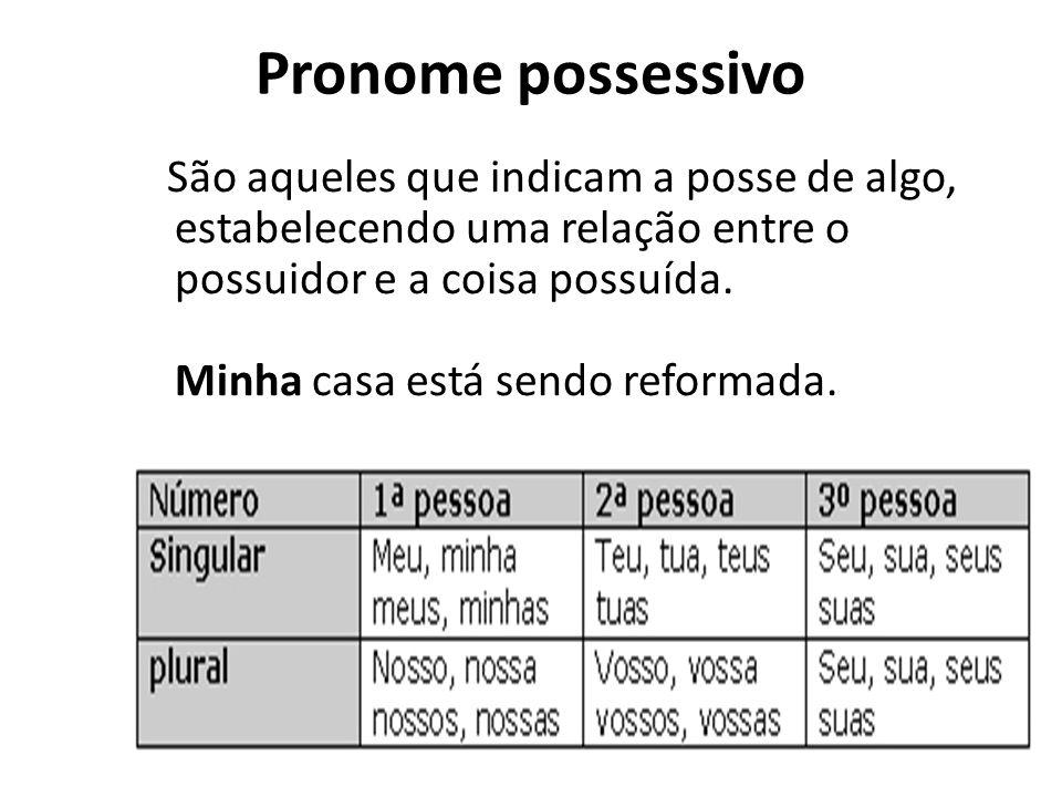 Pronome possessivo São aqueles que indicam a posse de algo, estabelecendo uma relação entre o possuidor e a coisa possuída. Minha casa está sendo refo