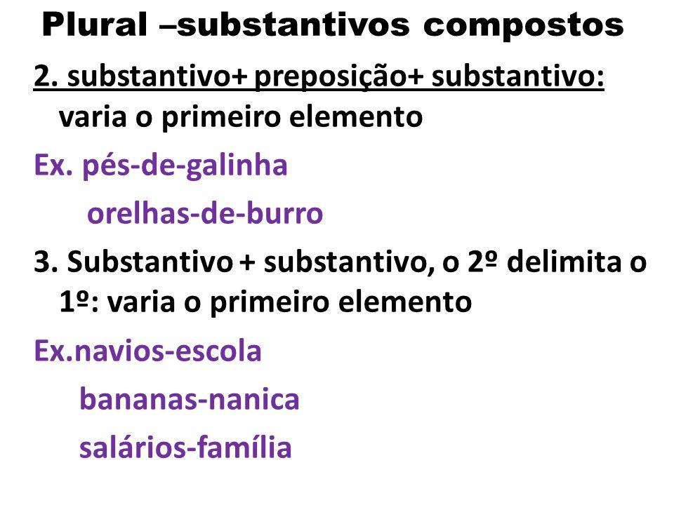 Plural –substantivos compostos 1. Regra geral: substantivo, adjetivo, numeral- variam Ex. obras-primas, quartas-feiras, guardas-noturnos demais classe