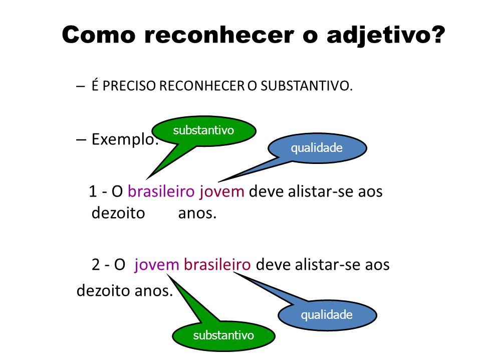 Adjetivo – Palavra que dá as características de um substantivo. – Estas características podem ser de: qualidade defeito modos ou maneiras de ser Exemp