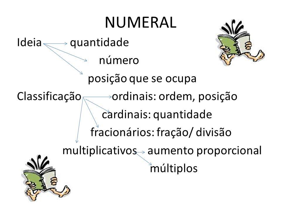 Exemplos de Numerais quatro, quarto, um quarto, quádruplo, um dois, duas, dobro, um meio, metade, triplo... Encontrei dois colegas no cinema. O quarto