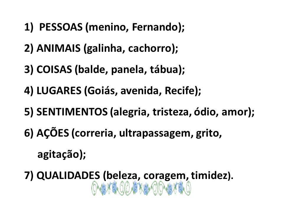 1) PESSOAS (menino, Fernando); 2) ANIMAIS (galinha, cachorro); 3) COISAS (balde, panela, tábua); 4) LUGARES (Goiás, avenida, Recife); 5) SENTIMENTOS (alegria, tristeza, ódio, amor); 6) AÇÕES (correria, ultrapassagem, grito, agitação); 7) QUALIDADES (beleza, coragem, timidez ).
