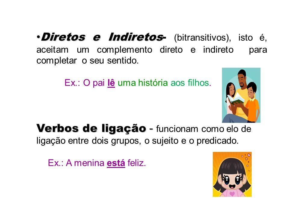 As subclasses dos Verbos Verbos intransitivos- Verbos intransitivos- os que tem o sentido completo. As crianças brincam. Verbos transitivos : Verbos t