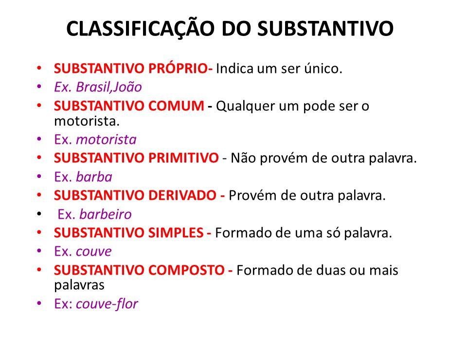 1) PESSOAS (menino, Fernando); 2) ANIMAIS (galinha, cachorro); 3) COISAS (balde, panela, tábua); 4) LUGARES (Goiás, avenida, Recife); 5) SENTIMENTOS (
