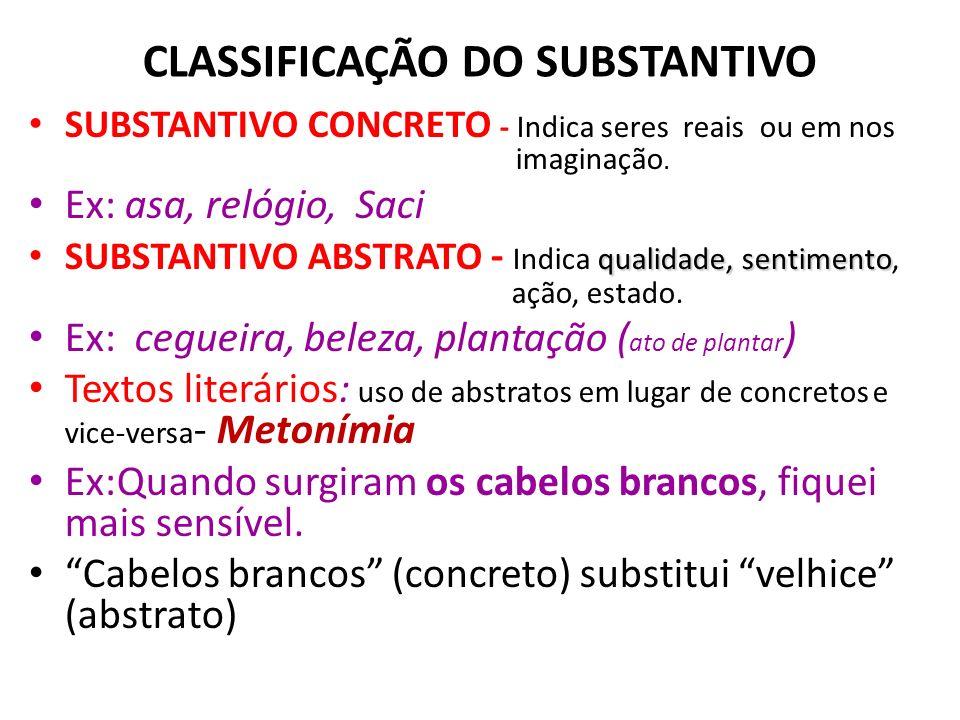 CLASSIFICAÇÃO DO SUBSTANTIVO SUBSTANTIVO CONCRETO - Indica seres reais ou em nos imaginação.