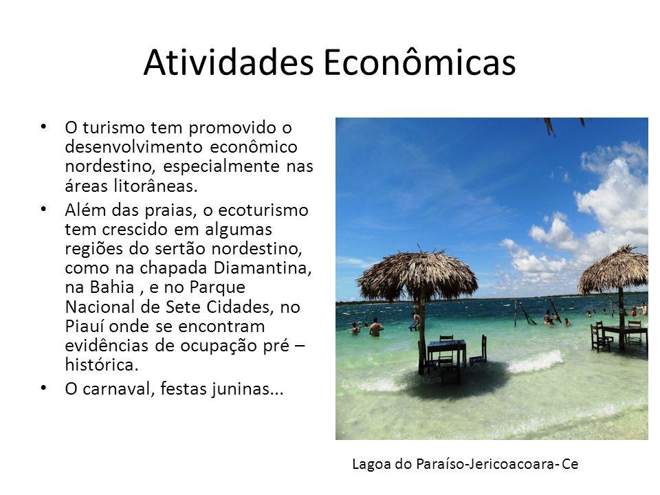 Atividades Econômicas O turismo tem promovido o desenvolvimento econômico nordestino, especialmente nas áreas litorâneas. Além das praias, o ecoturism