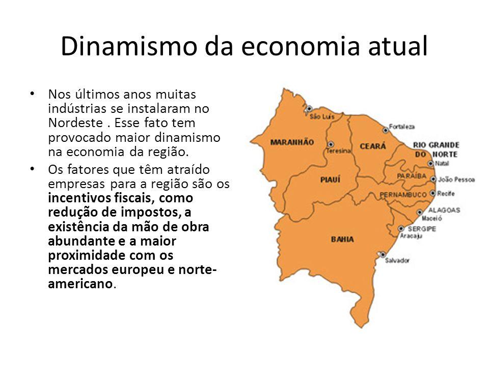 Dinamismo da economia atual Nos últimos anos muitas indústrias se instalaram no Nordeste. Esse fato tem provocado maior dinamismo na economia da regiã