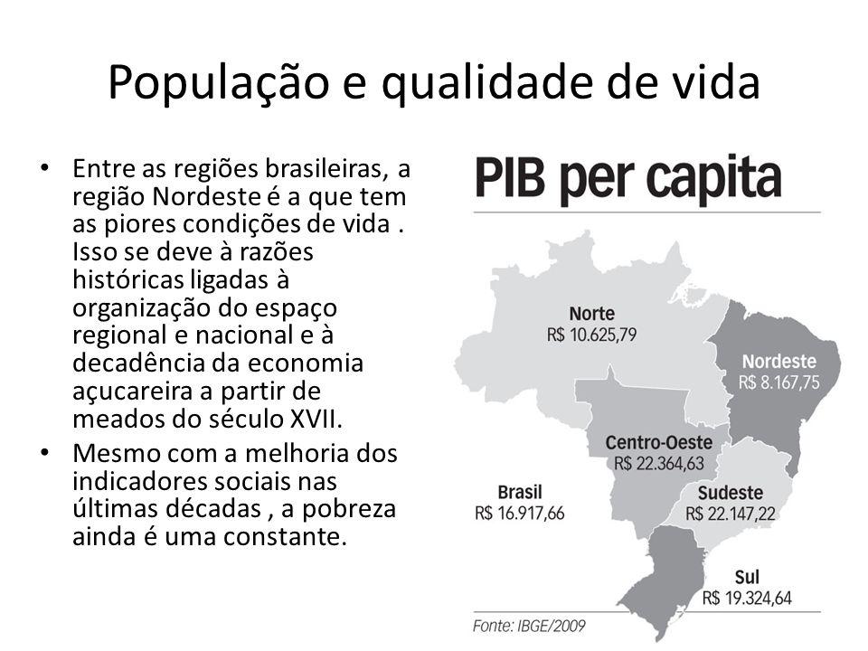 População e qualidade de vida Entre as regiões brasileiras, a região Nordeste é a que tem as piores condições de vida. Isso se deve à razões histórica