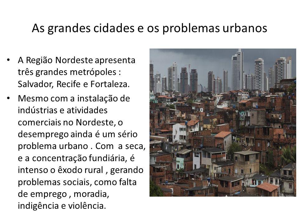 As grandes cidades e os problemas urbanos A Região Nordeste apresenta três grandes metrópoles : Salvador, Recife e Fortaleza. Mesmo com a instalação d
