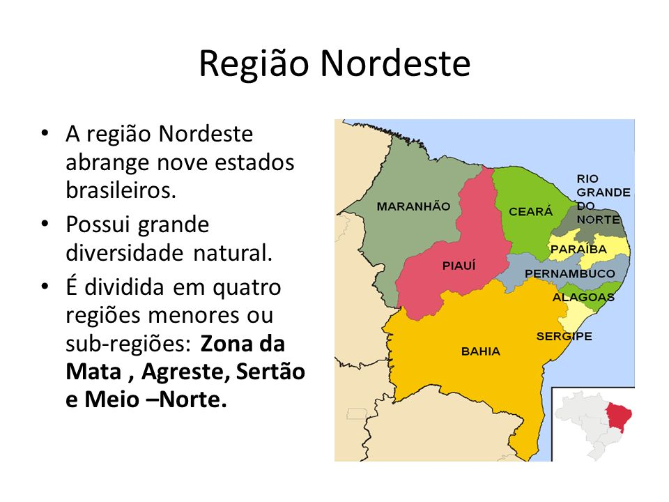 A região Nordeste abrange nove estados brasileiros. Possui grande diversidade natural. É dividida em quatro regiões menores ou sub-regiões: Zona da Ma