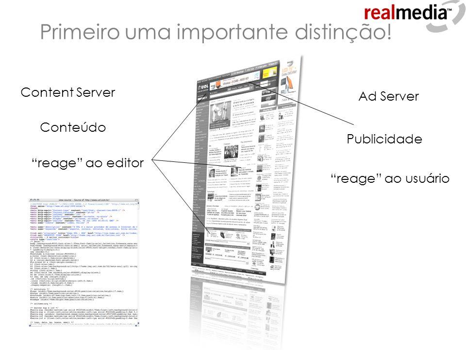 Primeiro uma importante distinção! Conteúdo Publicidade Content Server reage ao editor Ad Server reage ao usuário