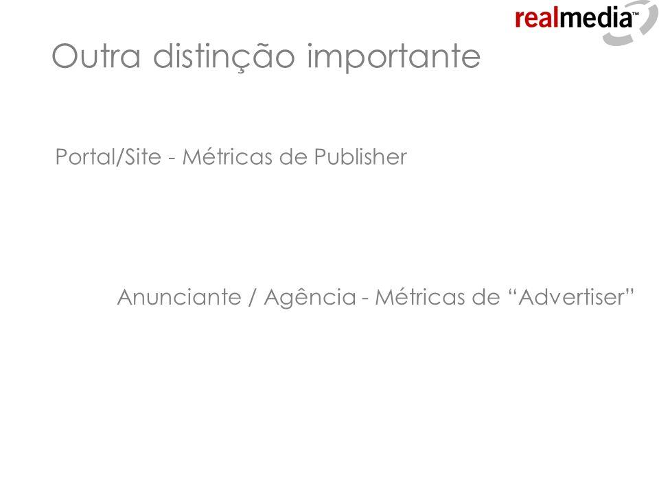 Outra distinção importante Portal/Site - Métricas de Publisher Anunciante / Agência - Métricas de Advertiser