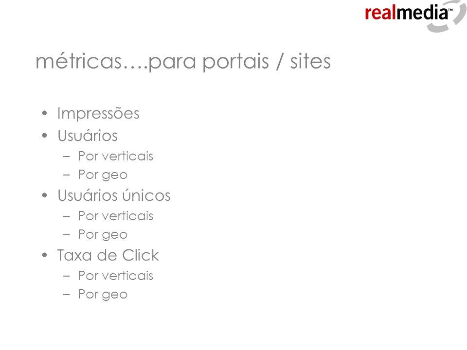 métricas….para portais / sites Impressões Usuários –Por verticais –Por geo Usuários únicos –Por verticais –Por geo Taxa de Click –Por verticais –Por g