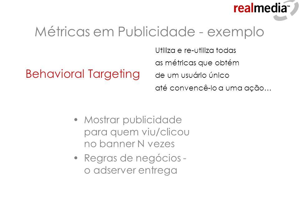Métricas em Publicidade - exemplo Behavioral Targeting Mostrar publicidade para quem viu/clicou no banner N vezes Regras de negócios - o adserver entr