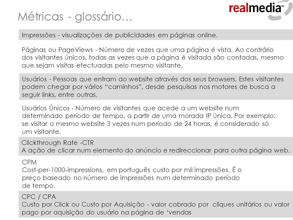 Métricas - glossário… Impressões - visualizações de publicidades em páginas online. Páginas ou PageViews - Número de vezes que uma página é vista. Ao