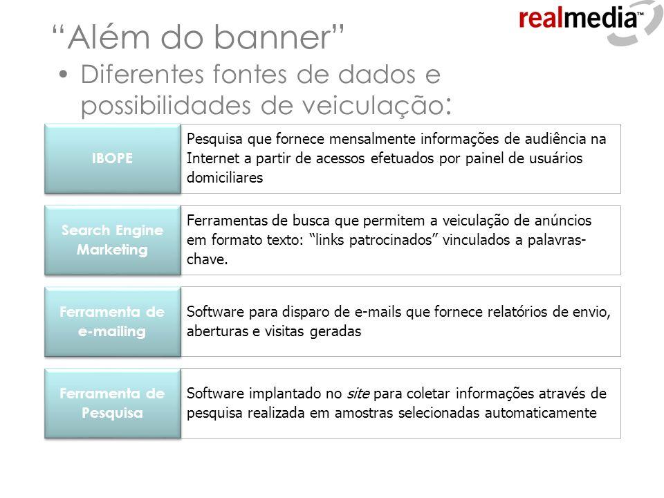 Além do banner Diferentes fontes de dados e possibilidades de veiculação : Software para disparo de e-mails que fornece relatórios de envio, aberturas