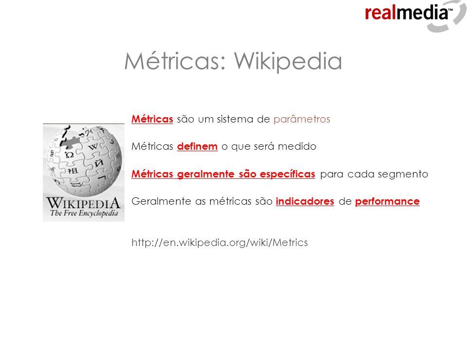 Métricas: Wikipedia Métricas são um sistema de parâmetros Métricas definem o que será medido Métricas geralmente são específicas para cada segmento Ge