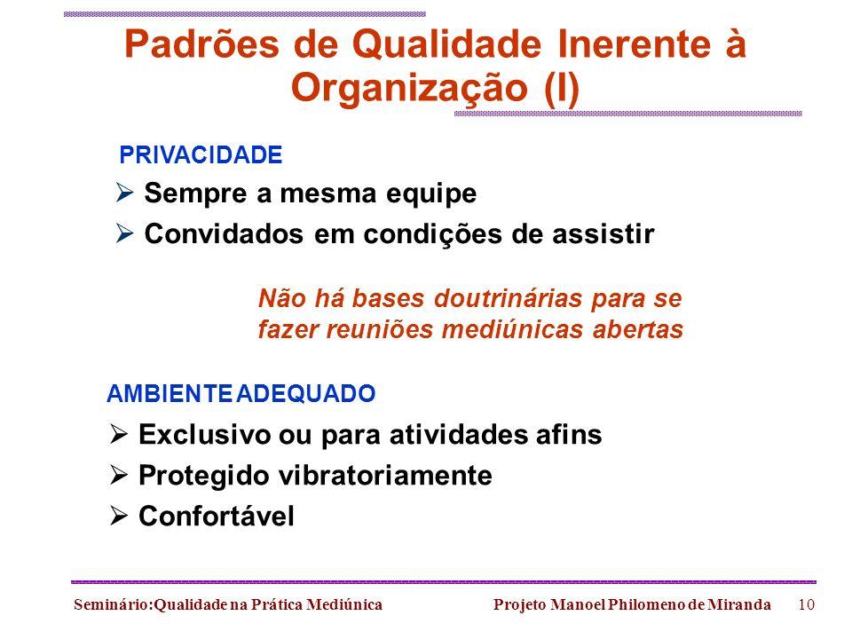 Seminário:Qualidade na Prática Mediúnica Projeto Manoel Philomeno de Miranda10 Padrões de Qualidade Inerente à Organização (I) PRIVACIDADE Sempre a me