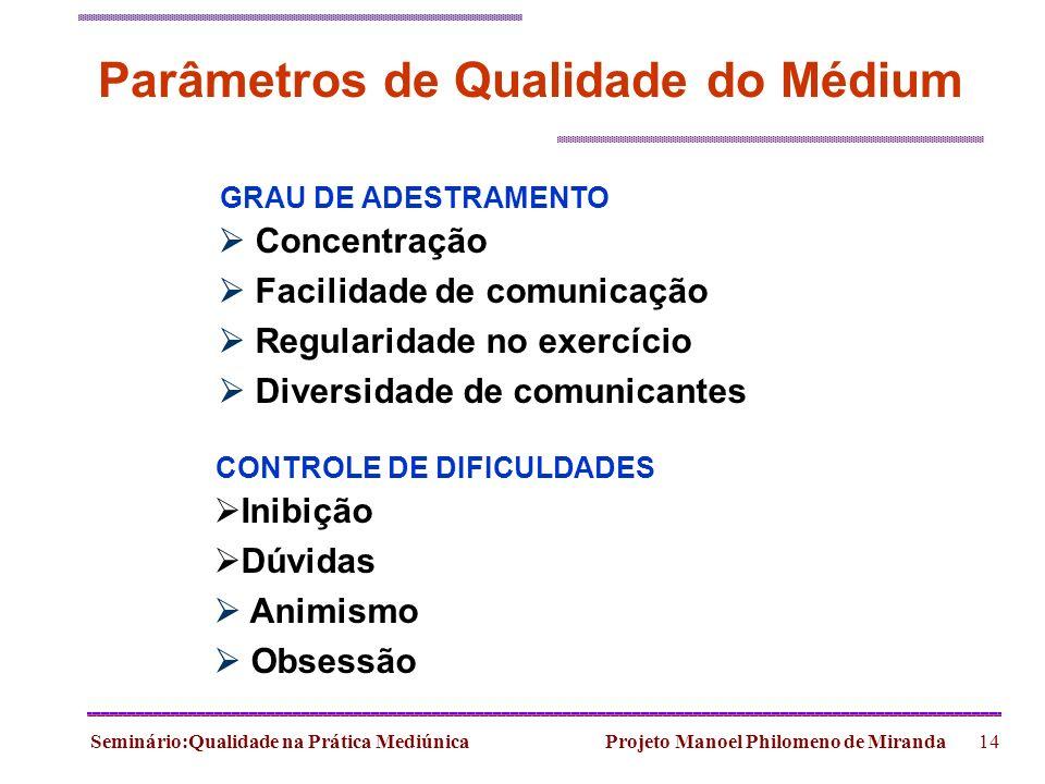 Seminário:Qualidade na Prática Mediúnica Projeto Manoel Philomeno de Miranda14 Parâmetros de Qualidade do Médium Concentração Facilidade de comunicaçã