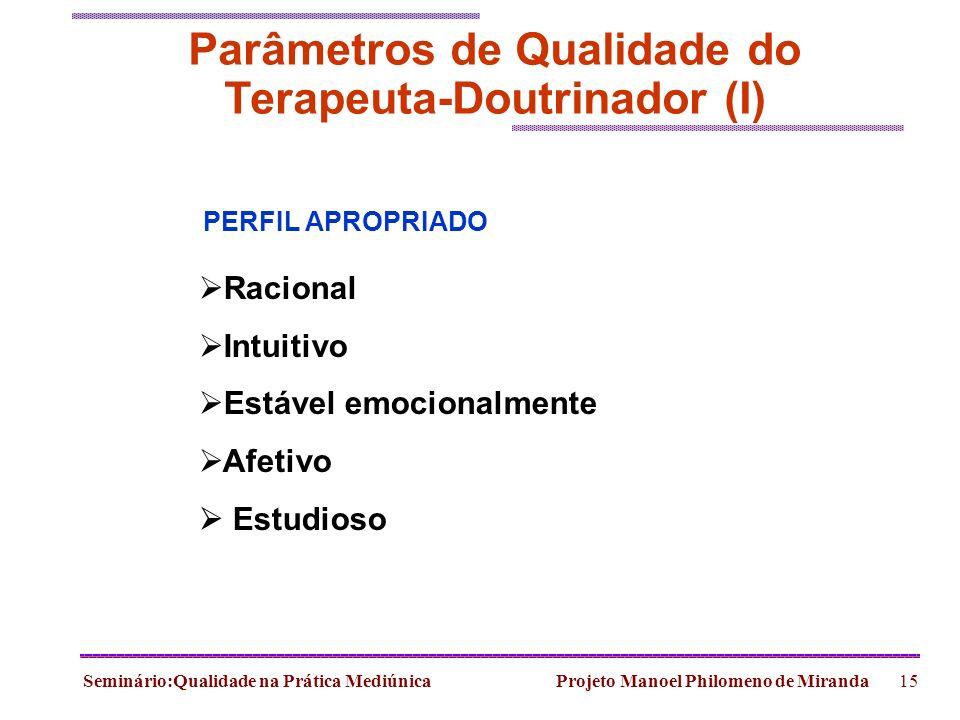 Seminário:Qualidade na Prática Mediúnica Projeto Manoel Philomeno de Miranda15 Parâmetros de Qualidade do Terapeuta-Doutrinador (I) Racional Intuitivo