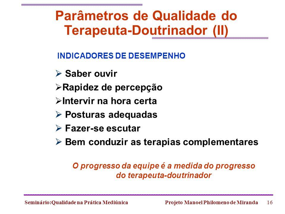 Seminário:Qualidade na Prática Mediúnica Projeto Manoel Philomeno de Miranda16 Parâmetros de Qualidade do Terapeuta-Doutrinador (II) INDICADORES DE DE