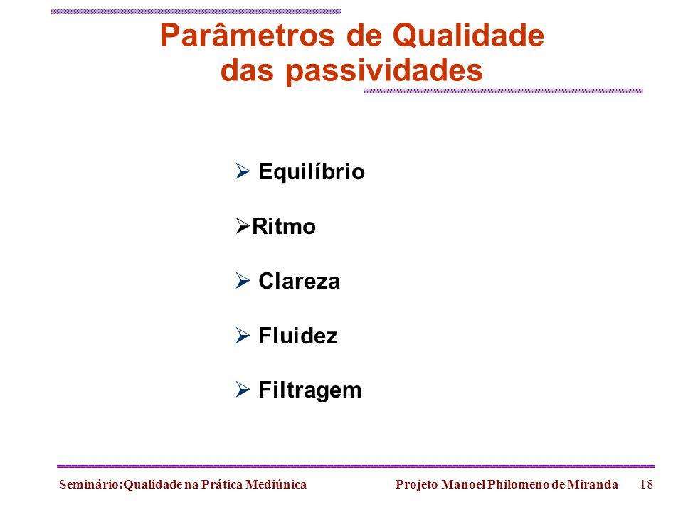 Seminário:Qualidade na Prática Mediúnica Projeto Manoel Philomeno de Miranda18 Parâmetros de Qualidade das passividades Equilíbrio Ritmo Clareza Fluid