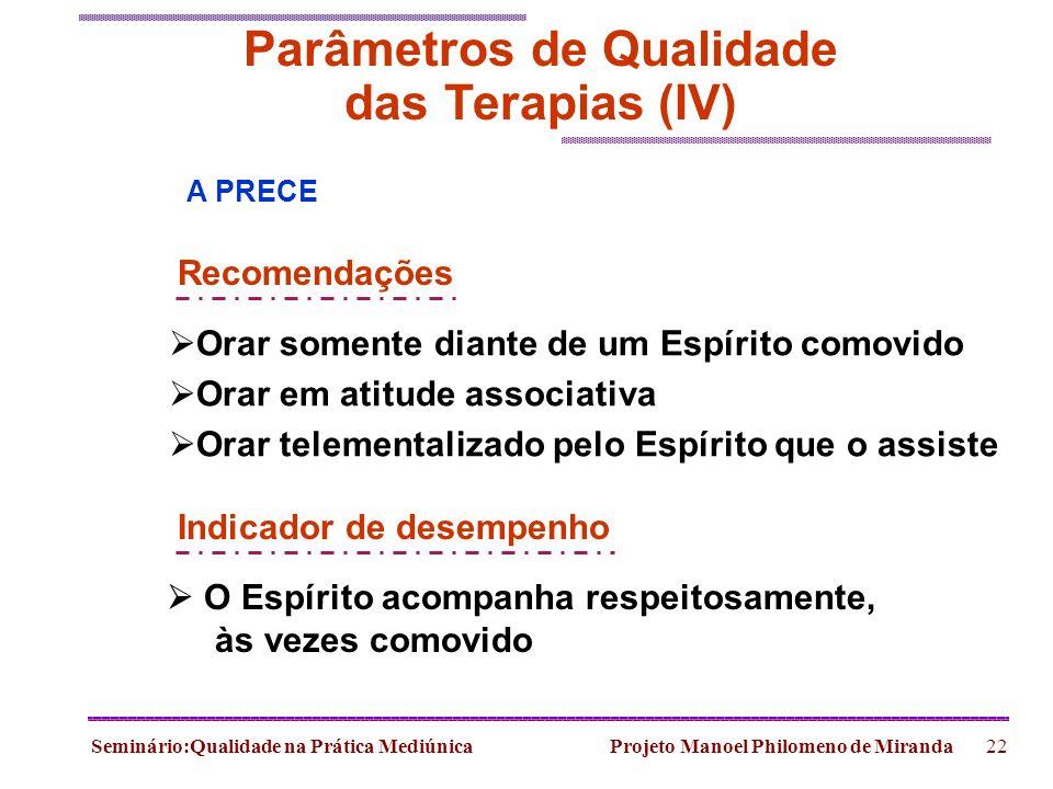 Seminário:Qualidade na Prática Mediúnica Projeto Manoel Philomeno de Miranda22 Parâmetros de Qualidade das Terapias (IV) Orar somente diante de um Esp