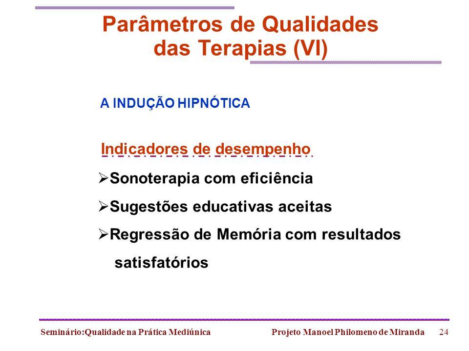 Seminário:Qualidade na Prática Mediúnica Projeto Manoel Philomeno de Miranda24 Parâmetros de Qualidades das Terapias (VI) Sonoterapia com eficiência S
