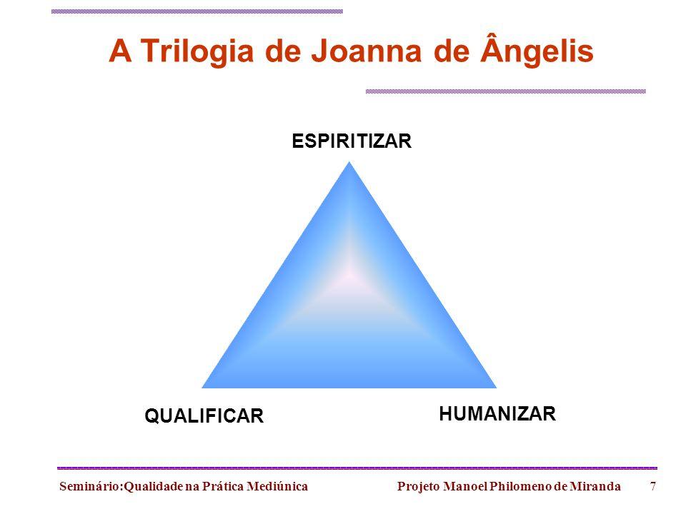 Seminário:Qualidade na Prática Mediúnica Projeto Manoel Philomeno de Miranda7 ESPIRITIZAR QUALIFICAR HUMANIZAR A Trilogia de Joanna de Ângelis