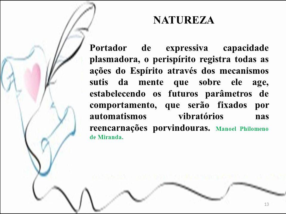 Portador de expressiva capacidade plasmadora, o perispírito registra todas as ações do Espírito através dos mecanismos sutis da mente que sobre ele ag