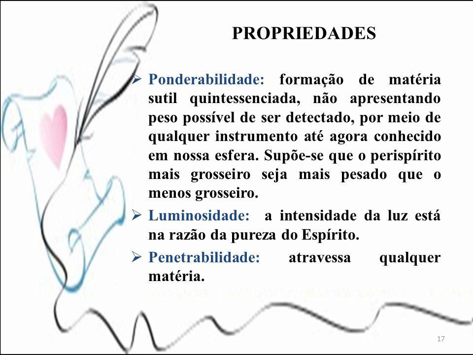 Ponderabilidade: formação de matéria sutil quintessenciada, não apresentando peso possível de ser detectado, por meio de qualquer instrumento até agor