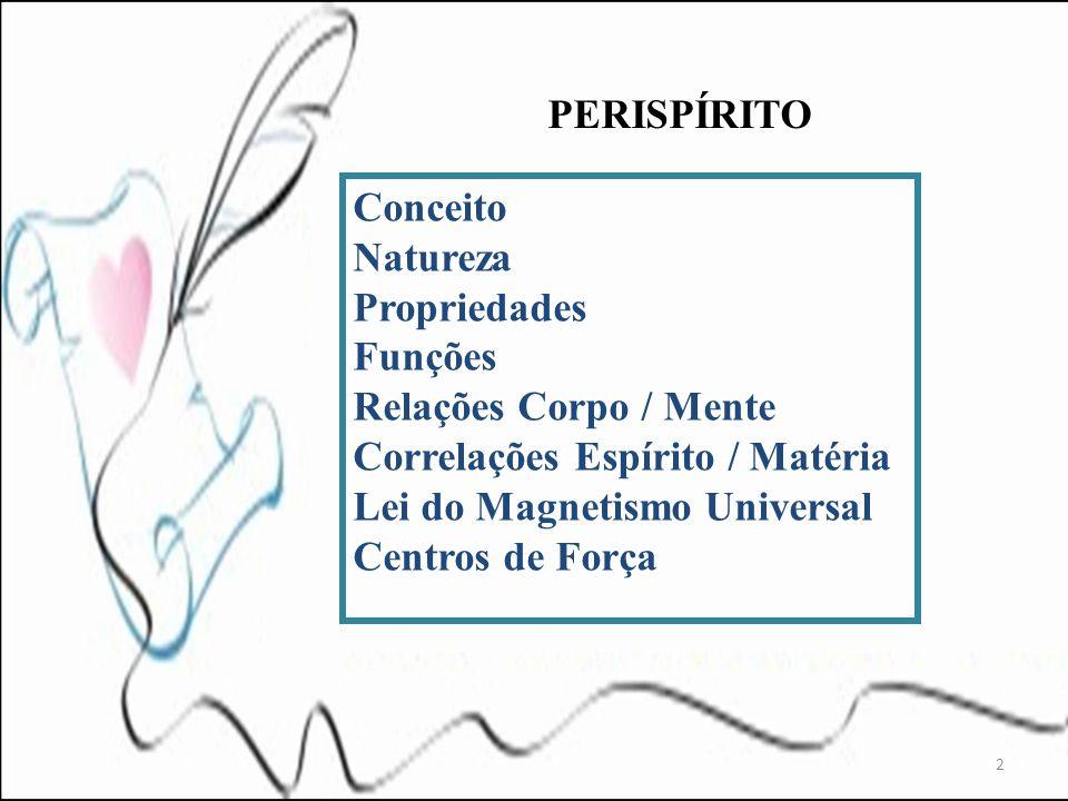 PERISPÍRITO 2 Conceito Natureza Propriedades Funções Relações Corpo / Mente Correlações Espírito / Matéria Lei do Magnetismo Universal Centros de Forç