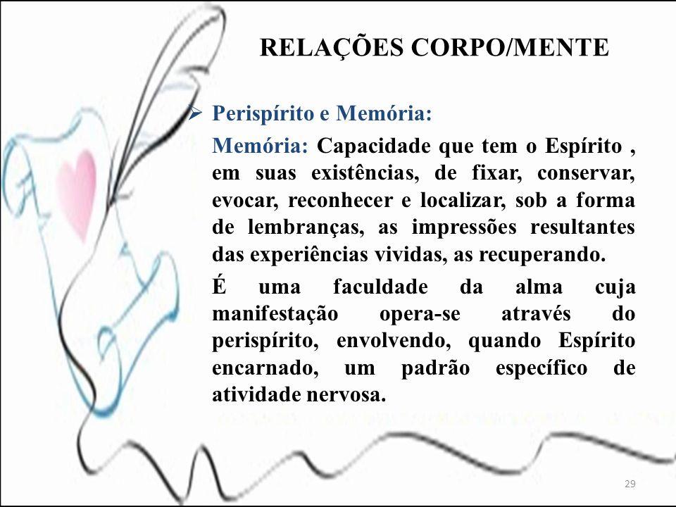Perispírito e Memória: Memória: Capacidade que tem o Espírito, em suas existências, de fixar, conservar, evocar, reconhecer e localizar, sob a forma d