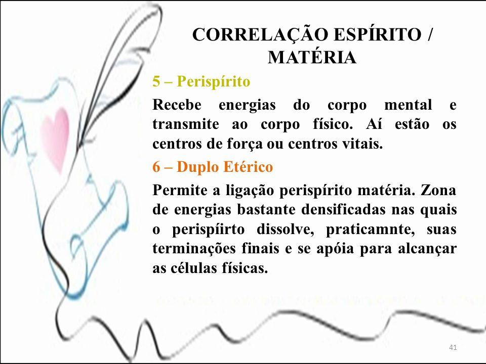 5 – Perispírito Recebe energias do corpo mental e transmite ao corpo físico. Aí estão os centros de força ou centros vitais. 6 – Duplo Etérico Permite