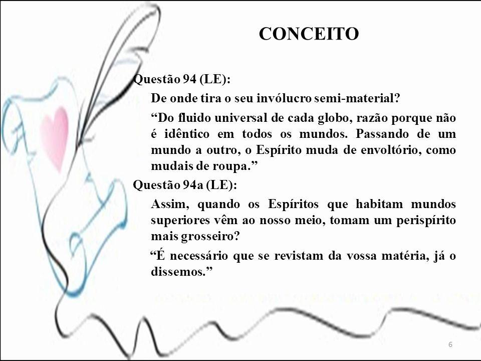 7 Questão 95 (LE): O invólucro semi-material do Espírito tem formas determinadas e pode ser perceptível.