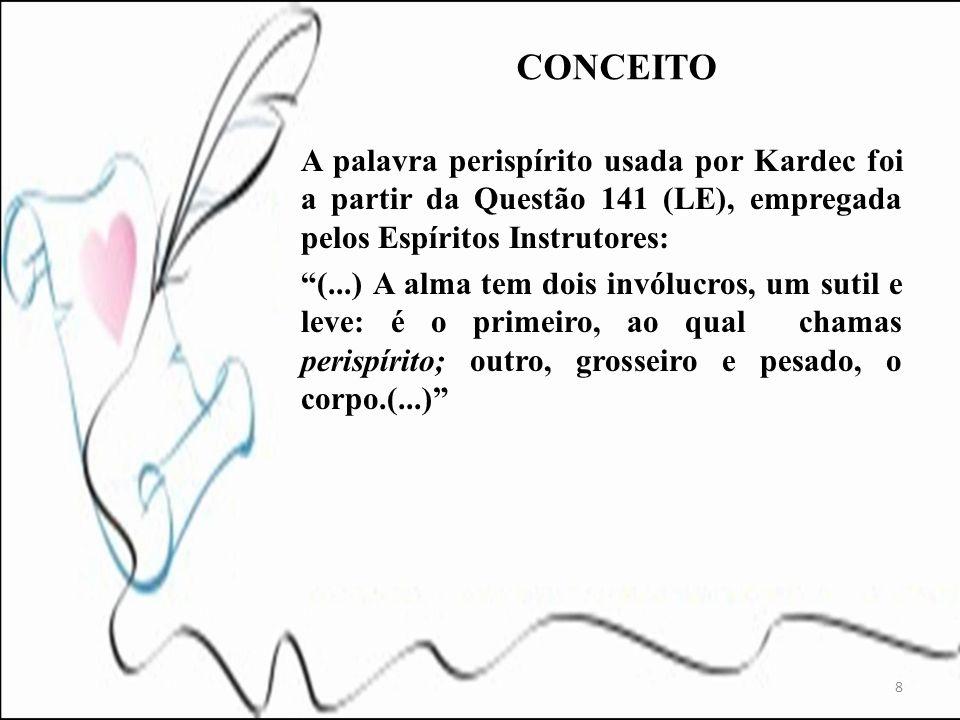 A palavra perispírito usada por Kardec foi a partir da Questão 141 (LE), empregada pelos Espíritos Instrutores: (...) A alma tem dois invólucros, um s