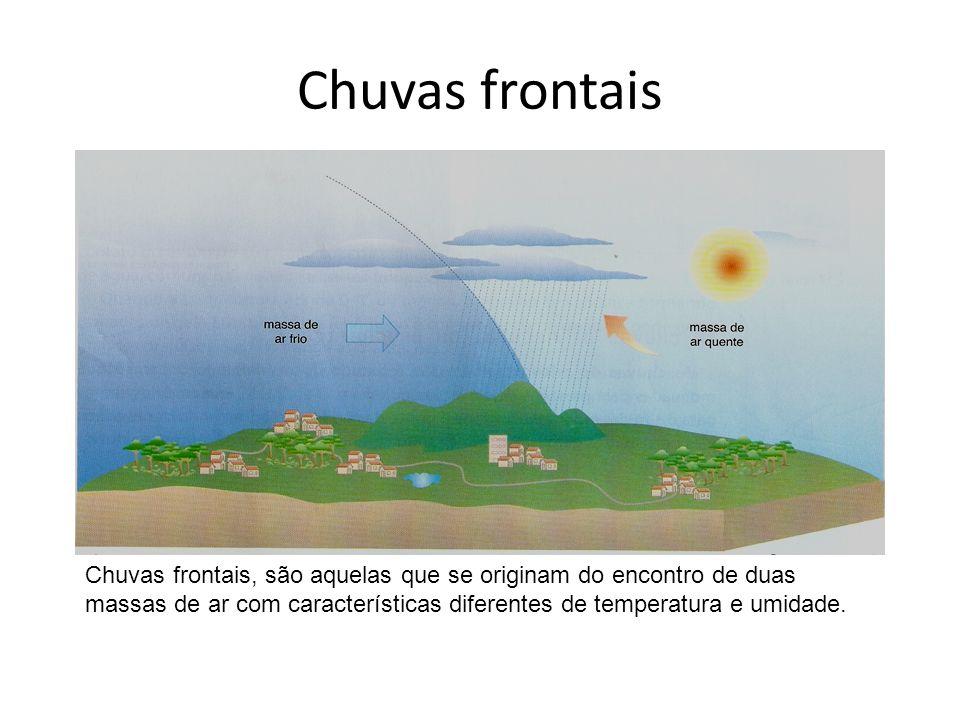 Chuvas frontais Chuvas frontais, são aquelas que se originam do encontro de duas massas de ar com características diferentes de temperatura e umidade.