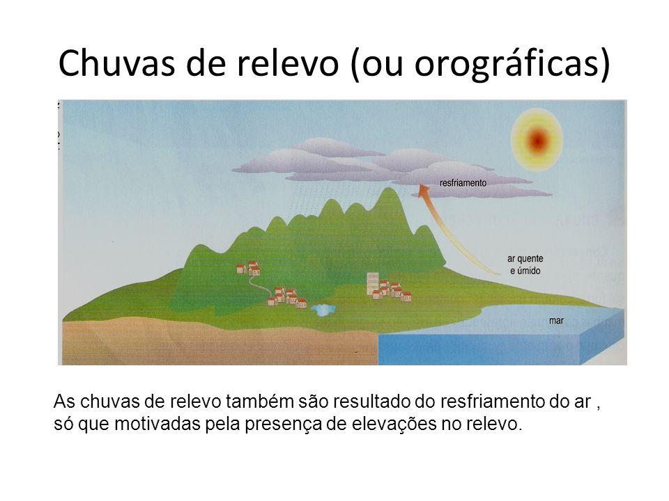 Chuvas de relevo (ou orográficas) As chuvas de relevo também são resultado do resfriamento do ar, só que motivadas pela presença de elevações no relev