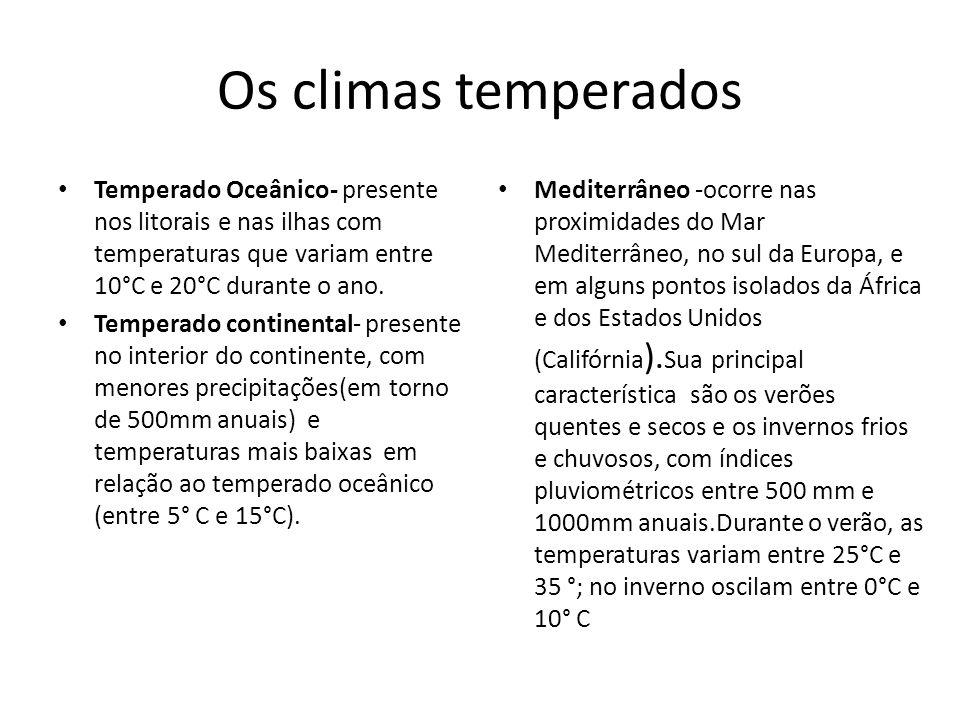 Os climas temperados Temperado Oceânico- presente nos litorais e nas ilhas com temperaturas que variam entre 10°C e 20°C durante o ano. Temperado cont