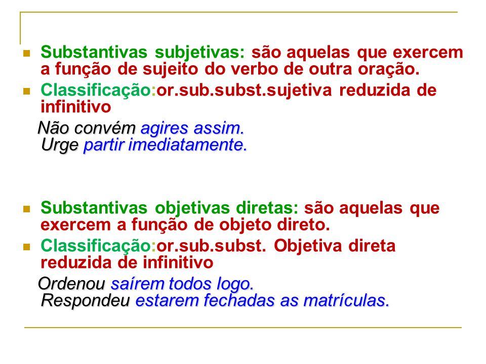 Orações Reduzidas São denominadas orações reduzidas aquelas que apresentam o verbo numa das formas nominais, ou seja, infinitivo, gerúndio e particípi
