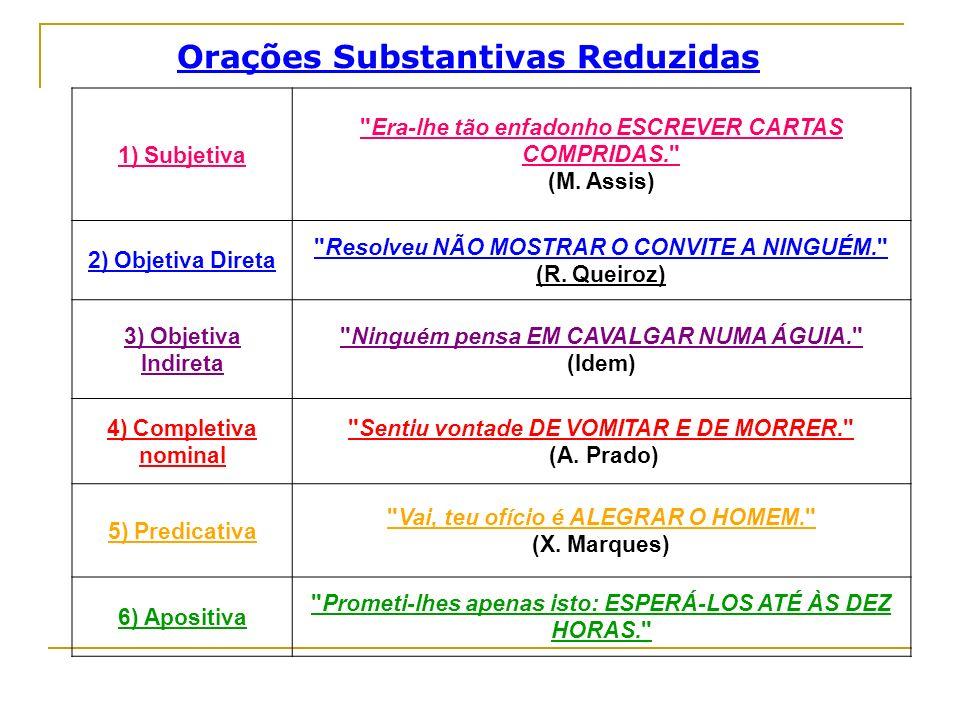 Outros exemplos de Orações Subordinadas Orações Subordinadas Substantivas Reduzidas Substantivas Reduzidas