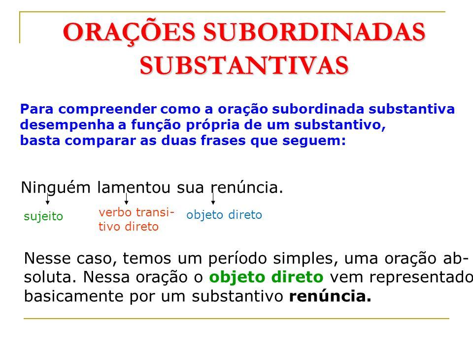 PERÍODO COMPOSTO POR SUBORDINAÇÃO Orações subordinadas substantivas