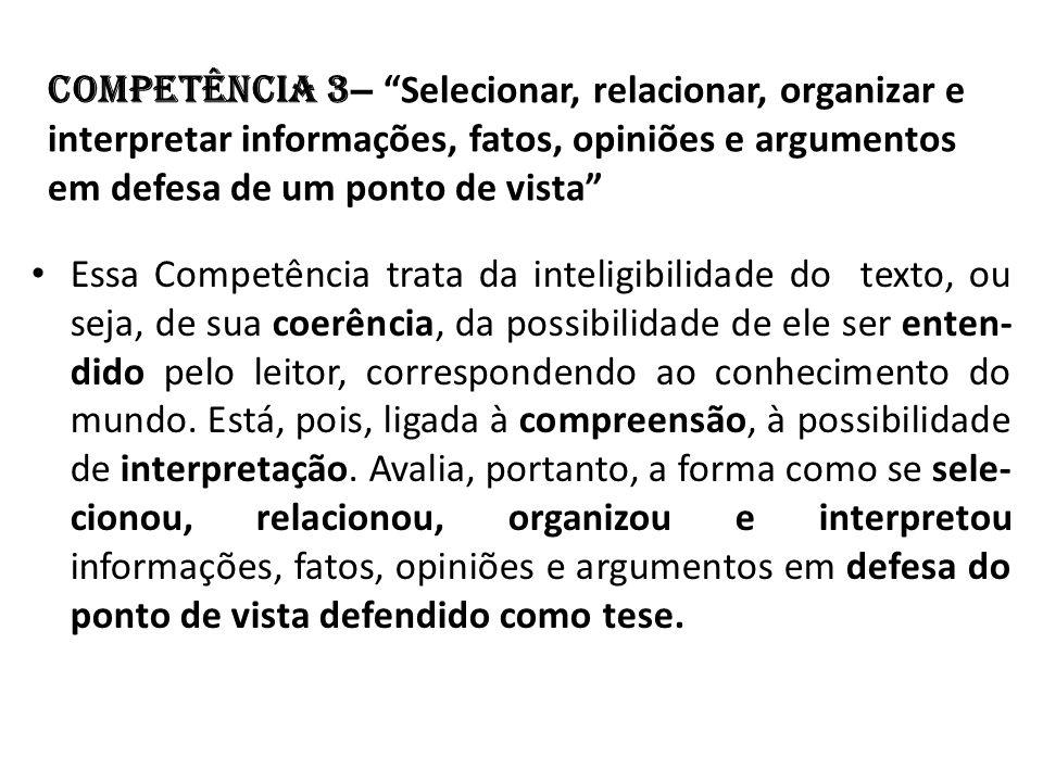 Competência 3 – Selecionar, relacionar, organizar e interpretar informações, fatos, opiniões e argumentos em defesa de um ponto de vista Essa Competên