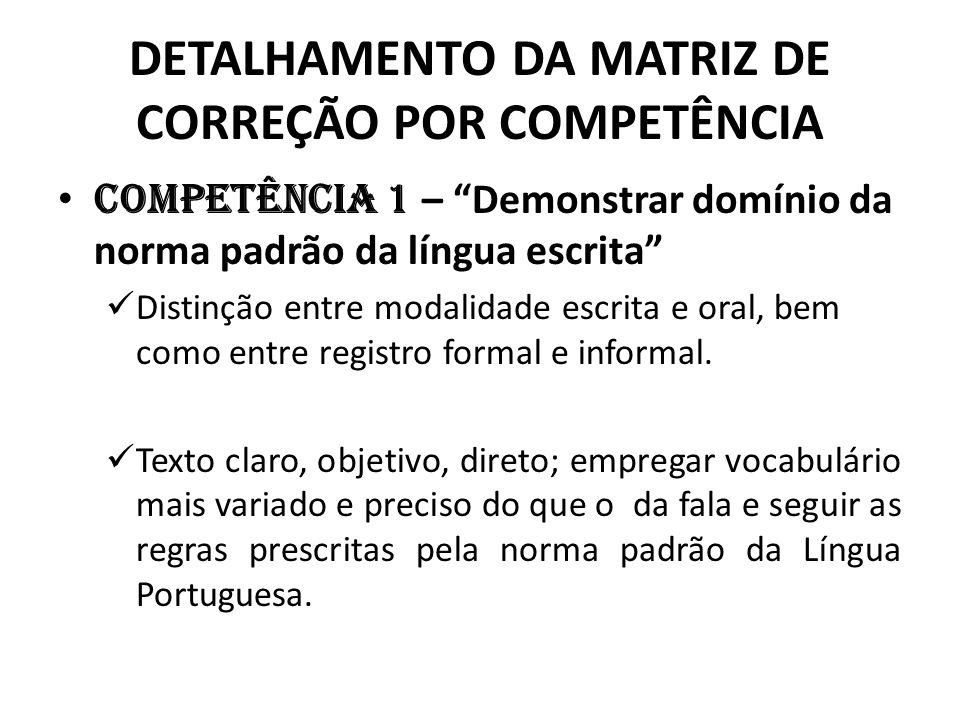 DETALHAMENTO DA MATRIZ DE CORREÇÃO POR COMPETÊNCIA Competência 1 – Demonstrar domínio da norma padrão da língua escrita Distinção entre modalidade esc