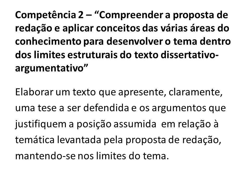 Competência 2 – Compreender a proposta de redação e aplicar conceitos das várias áreas do conhecimento para desenvolver o tema dentro dos limites estr