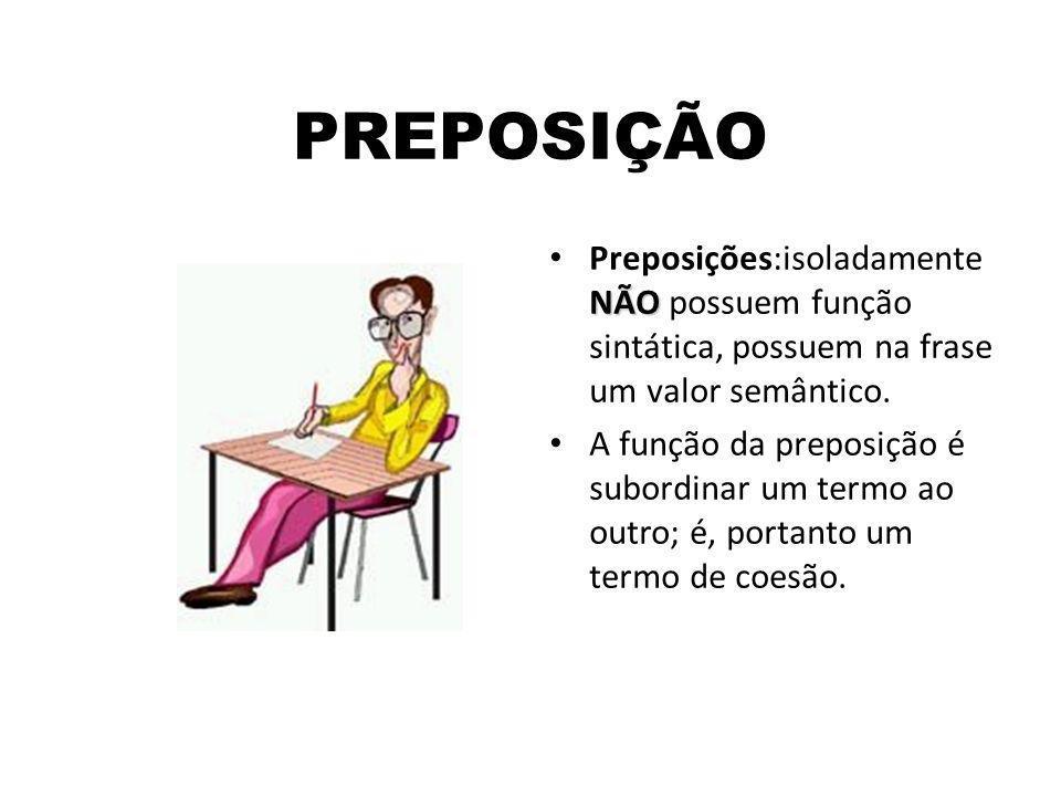 PREPOSIÇÃO NÃO Preposições:isoladamente NÃO possuem função sintática, possuem na frase um valor semântico. A função da preposição é subordinar um term