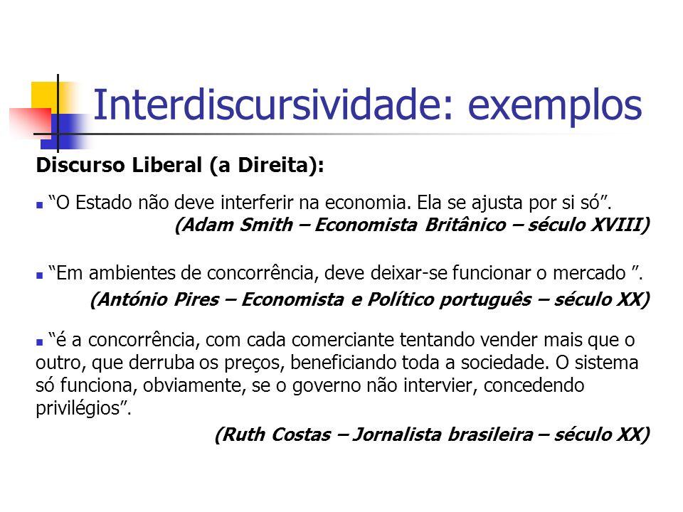 Interdiscursividade: exemplos Discurso Liberal (a Direita): O Estado não deve interferir na economia. Ela se ajusta por si só. (Adam Smith – Economist