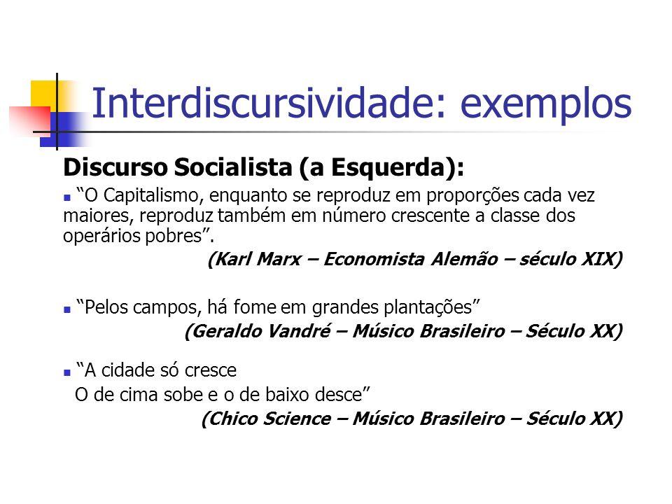 Interdiscursividade: exemplos Discurso Socialista (a Esquerda): O Capitalismo, enquanto se reproduz em proporções cada vez maiores, reproduz também em