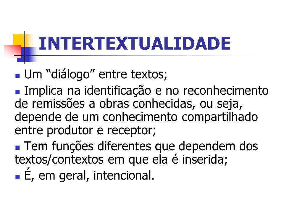 INTERTEXTUALIDADE Um diálogo entre textos; Implica na identificação e no reconhecimento de remissões a obras conhecidas, ou seja, depende de um conhec