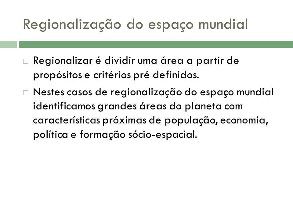 Regionalização do espaço mundial Regionalizar é dividir uma área a partir de propósitos e critérios pré definidos.