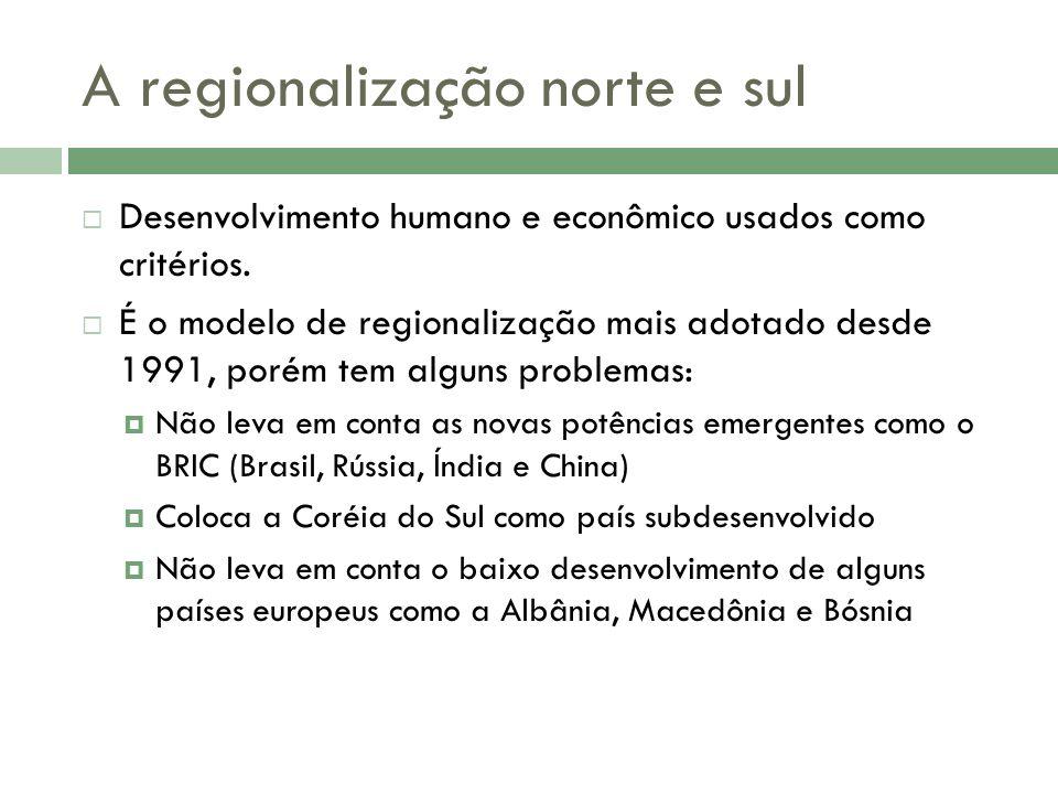 A regionalização norte e sul Desenvolvimento humano e econômico usados como critérios.